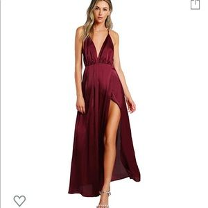 Burgundy Deep B Satin Long Dress